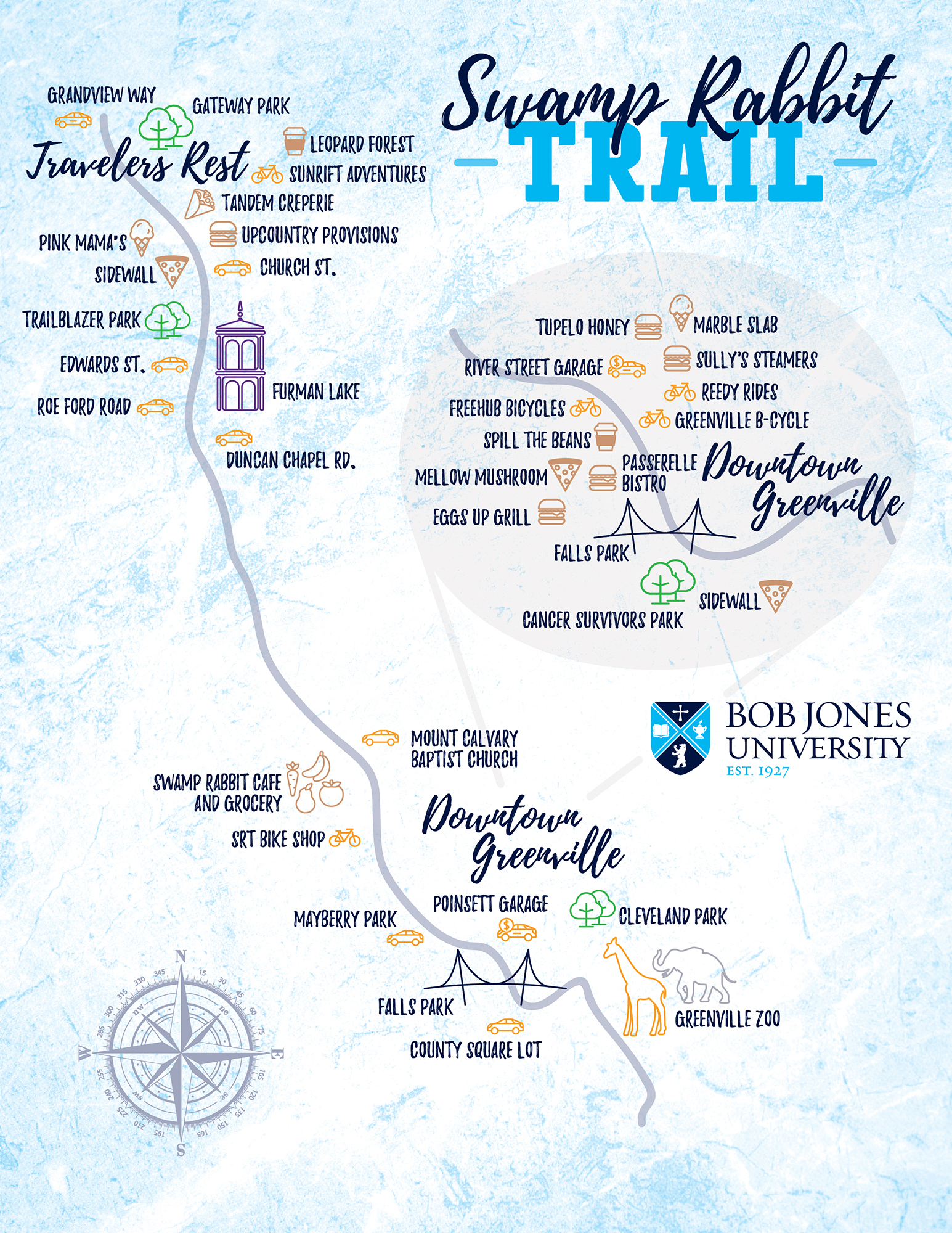 Branded Swamp Rabbit Trail map