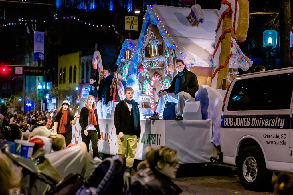 BJU float in the Greenville Poinsettia Christmas Parade